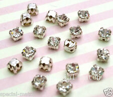 20 pcs Sew on Cut Glass Crystals 5mm in Silver Settings montees 4 holes bead