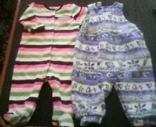 Girls Size 6-9 Months Striped Feet Pajamas,w/ Monkey  & Purple Floral Romper