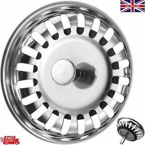 Premium Kitchen Sink Strainer Replacement Waste Plug Basin Drain Filter Steel UK