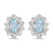 10k White Gold 5x3 Mm Genuine Ruby and Diamond Earrings