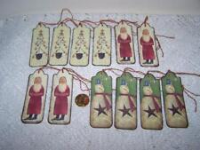 Christmas~Primitive~Santa~Snowman~Tree~Linen Cardstock~Gift~Hang~Tags