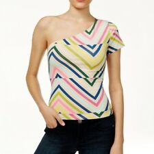 GUESS Womens One Shoulder Geometric Top Size Large Shirt Trippy Tribal - NWT