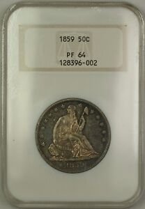 1859 Proof Seated Liberty Silver Half 50c Coin Old NGC Raised Logo PF-64 Toned