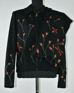 St John Sz 10 Black Santana Knit Pants& Blazer Suit 2 Pc Set Embroidered Leaves