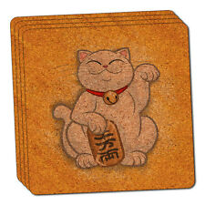 Lucky Beckoning Cat Maneki Neko Fortune Japanese Kawaii Cork Coaster Set of 4