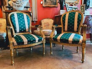 Pair of Fauteuils Giltwood Chairs With Green and Beige Stipe Upholstery