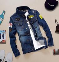 2018  Men's Retro Denim Cotton Jean Jacket Coat Casual Outwear Blue Size Vintage