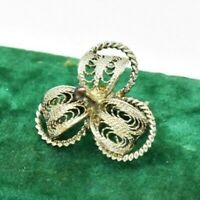 Vintage Sterling silver brooch pin Filigree flower Art Nouveau statement #W550