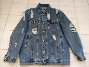 Giubbotto Jeans Donna Startup Wear Oversize Denim Strappi Divided Made In Italy
