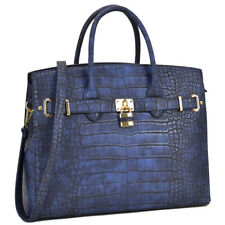 New Women Handbag Lock Croco Faux Leather Satchel Briefcase Tote Bag Large Purse