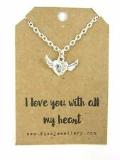 I Love you With All My Heart Winged Rhinestone Silver Necklace Message Card New