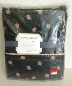 Pottery Barn Teen Emily Meritt The Ditsy Floral Organic sheet black rose queen