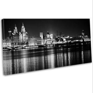 Canvas Print Liverpool Skyline Over The Mersey Panoramic Framed Art Picture B&W