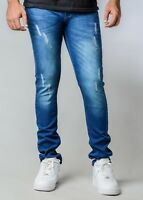 NEW MJ BRAND MENS MID BLUE WITH RIPPED AND DISTRESS SKINNY FIT JEANS