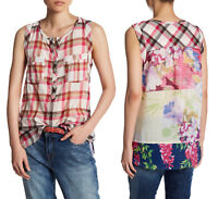 ARATTA Tropical Top Women's Sleeveless Shirt Blouse Fuchsia Plaid Floral Size M