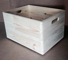 * Stackable pine wood open top crate with handles 40x30x23cm DD166 storage (B)