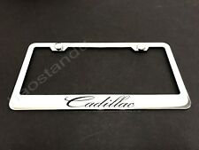 1x Cadillac STAINLESS STEEL LICENSE PLATE FRAME + Screw Caps