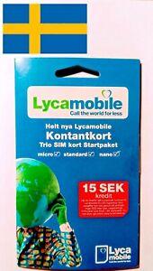 LYCAMOBILE SVERIGE KONTANTKORT TRIO STARTPAKET SWEDEN ANONYMOUS PREPAID SIM CARD