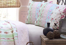 Pink Blue Rose Floral Shabby Chic 2-PC TWIN Quilt Set Cotton Patchwork Bedding