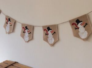 Christmas Snowman Bunting Banner Hessian Burlap