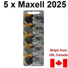 5 Pcs CR2025 Lithium Battery Maxell 2025 3V coin cell batteries. Made in JAPAN