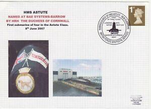 GB Stamps Navy Souvenir Cover HMS Astute, nuclear Submarine, crest, dog 2007