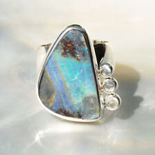 Boulderopal Ring, 925er Silber, Edelsteinring (21493), Opal, mit Mondstein