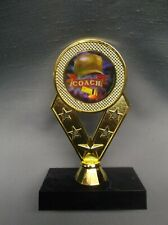 coach award full color insert trophy cap and whistle black base