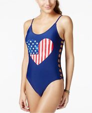 New listing New California Waves Blue American Flag Cutout Lace One piece Swimsuit S Small