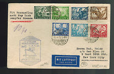 1934 Lohne Germany Catapult Cover Bremen to New York USA Wagner Stamps Hi Value!