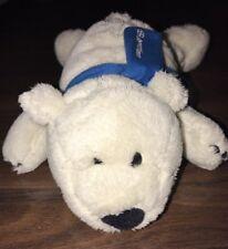 NICI Kuscheltier Plüschtier Stofftier Hund Liegt Weiß Blau Schal Eisbär Aspirin