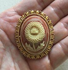 "Gold Tone 2"" Oval Vintage Resin Flower Pin Framed"