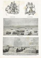 ALULA SOMALIA SULTANO OBBIA GUIDE ROBECCHI - Incisione Originale 1800
