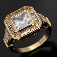Jewellry Size 9 Womens 18K Gold Filled Pretty White Sapphire Halo Fashion Rings