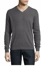 Black Brown 1826 100% Cashmere 265$ NWT Heather Blue V Neck Pullover Sweater 3Xl