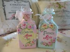 Shabby Chic Hand Painted Roses - Set of Two Roses Bottles