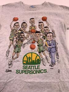Vtg 90s Salem Seattle Supersonics Sonics Caricatures Shirt Medium Kemp Payton