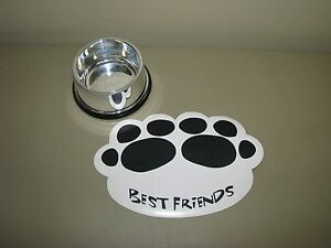 Build A Bear Pet DOG food silver BOWL dish with Best Friends placemat