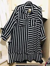 -LOVEDROBE- BLACK WHITE STRIPED ASYMMETRICAL SHIRT DRESS SIZE 24 BNWT