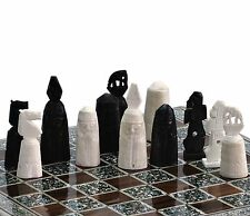 """16"""" Camel bones Handmade Egyptian Mother of Pearl Inlaid Chess Set"""