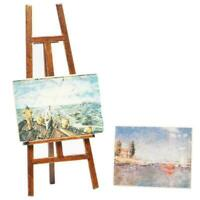 1:12 Miniature Wooden Easel With Two Painting DIY Dollhouse Decor Miniature E9R6