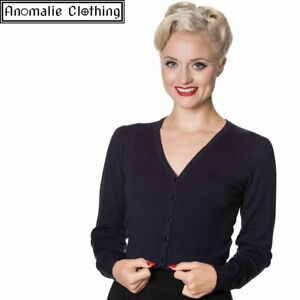 Banned Apparel Little Luxury Cropped Cardigan in Night Blue