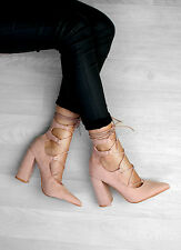 Womens Lace Up Block Heel Ankle Tie Wrap Lace Up Strappy Court Shoes Pumps Size