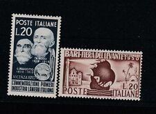 FRANCOBOLLI 1950 REPUBBLICA LANIERI + BARI L.20+20 MNH Z/7078