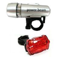 Ultra Bright Waterproof 5 LED Bike Head Light + 5 LED Rear Flashlight