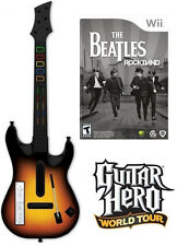 NEW Nintendo Wii Guitar Hero World Tour Wireless Guitar Beatles Rock Band Bundle