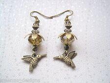 * colibri fleur orange Nectar drop * Antique Or boucles d'oreilles oiseau style vintage