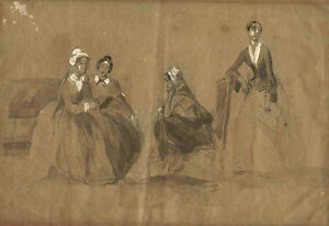 ORIGINAL ANTIQUE EARLY 19th CENTURY GOUACHE PAINTING - GENRE SCENE WITH 4 WOMEN