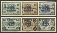 German NOTGELD OCHSENFURT Set of 3 DIFF 50 Pfg Notes UNC BLUE/GREEN/BROWN 1919