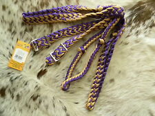 * Sale * Knotted Nylon Flat Braided Western Roping Rein Purple & Tan Horse Tack